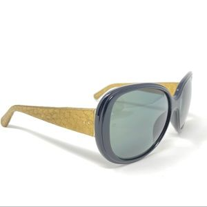 Linda Farrow Gold Snakeskin Wrapped Sunglasses